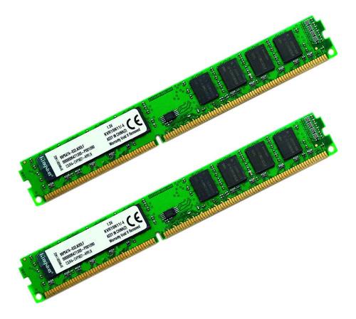 Imagem 1 de 3 de Memória Pc Desktop Kingston 8gb (2x4gb) Ddr3 1600 Kvr16n11