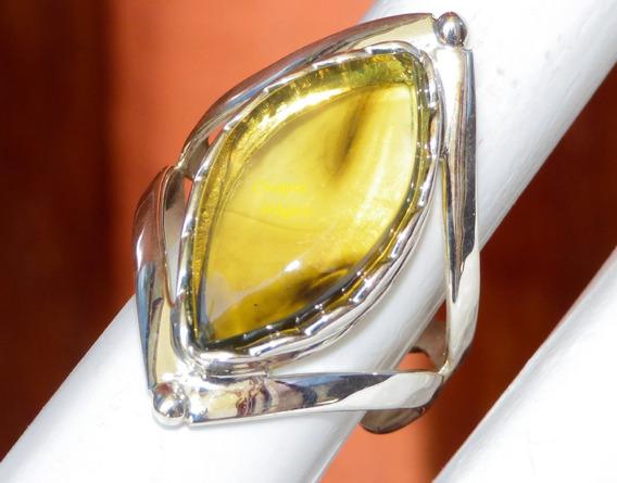 Hermoso Anillo De Ámbar Amarillo Verdoso & Plata Ley #8/ V5