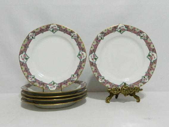 Juego 6 Platos Llanos Porcelana Limoges B & C Godin Art Deco