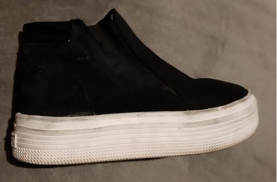 Zapatillas Panchas Plataforma Blanca Base Alta Negras Savage