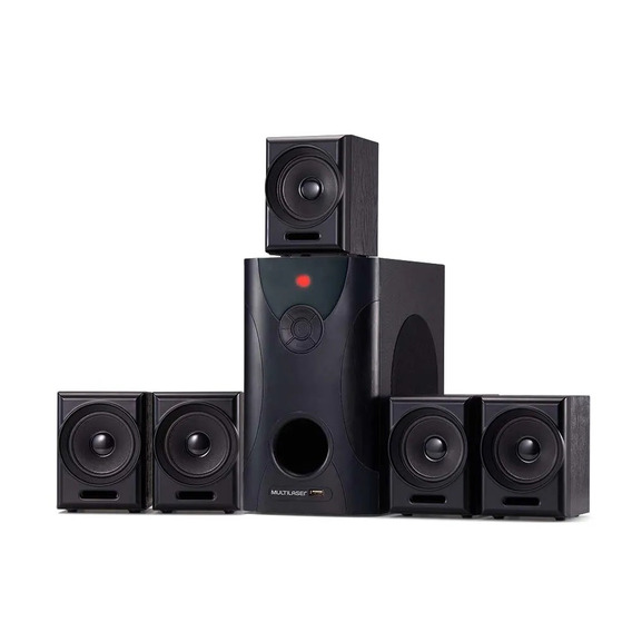 Home Theater Som 5.1 80w Subwoofer Rca + 5 Caixas Satelites