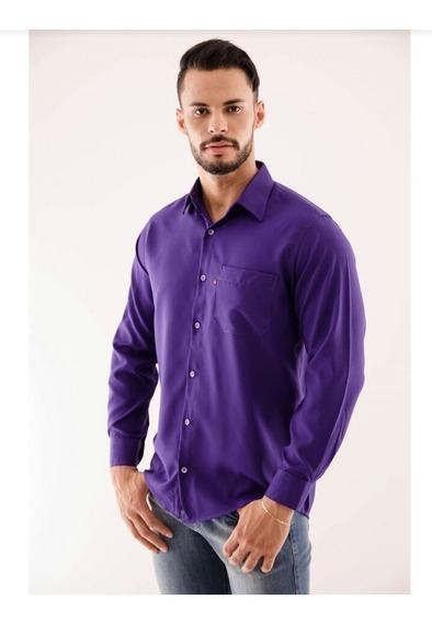 Camisas Slim Amil Fit Casual Manga Longa Social