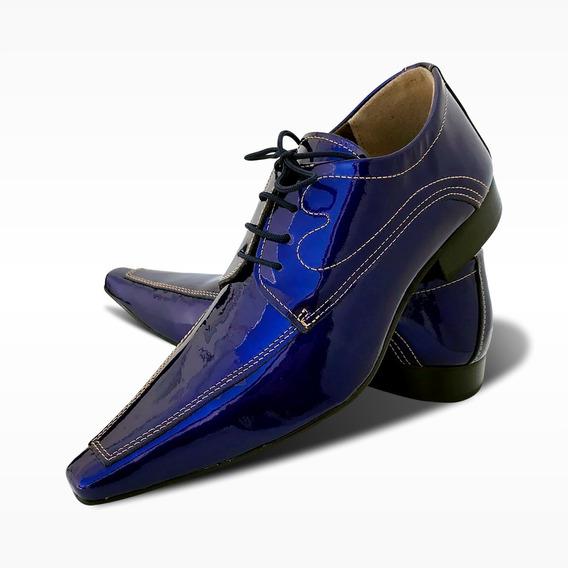 Sapato Social De Couro Azul - Modelo Premium (ref. 620)