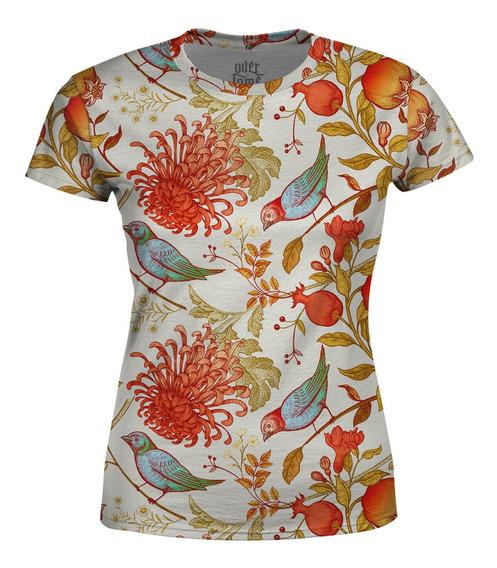 Camiseta Baby Look Feminina Flor Crisântemo Pássaros