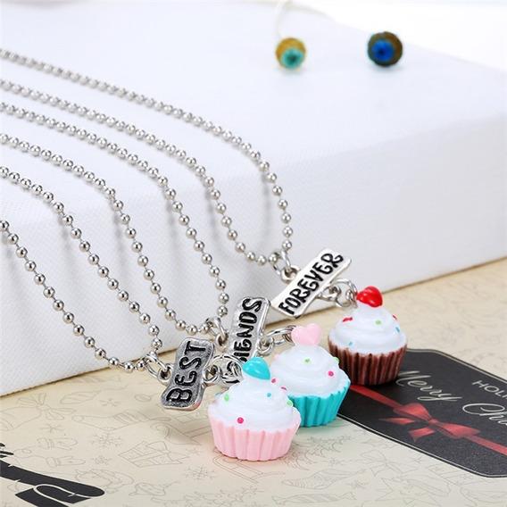Kit Com 3 Colar Cupcake Cordão Melhores Amigos Best Friends