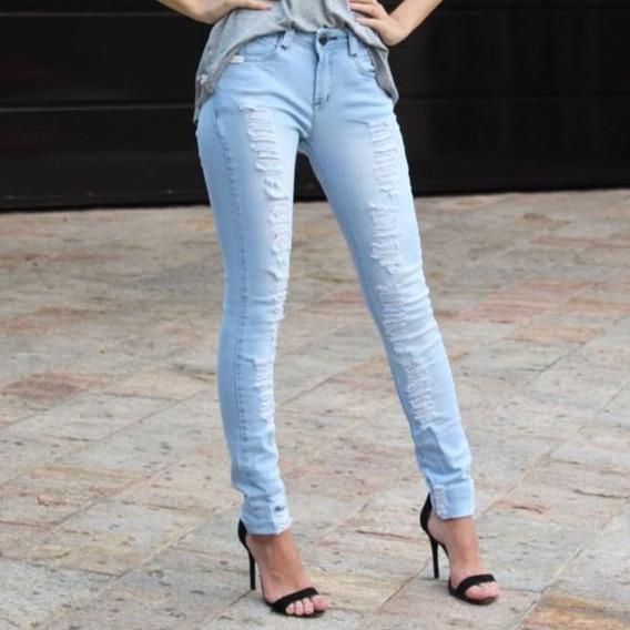 Calça Jeans Feminina Destroyed Cintura Média Chance