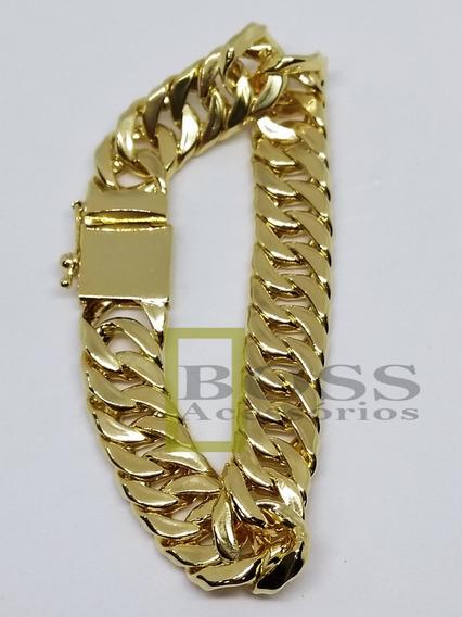 Pulseira Elo Duplo Grumet 11mm Banhada Ouro 18k Fecho Gaveta