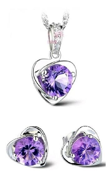 Conjunto Collar + Aretes Acero Inoxidable Cristales Hermosos