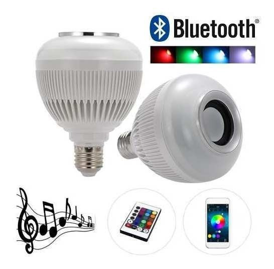 Kit 2 Lâmpadas Bluetooth Musica Rgb Caixa Som Luz Colorida