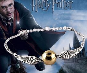 Lindo Pulseira Pomo De Ouro Dourado Pingente Harry Potter