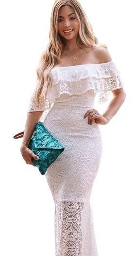 Vestido De Festa Branco Noiva Praia Estiloso Renda Longo