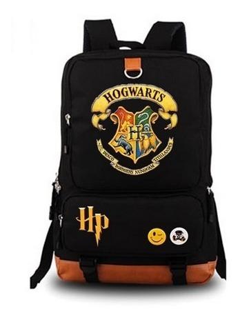 Mochila De Laptop Harry Potter Hogwarts Negra Piel Sintetica