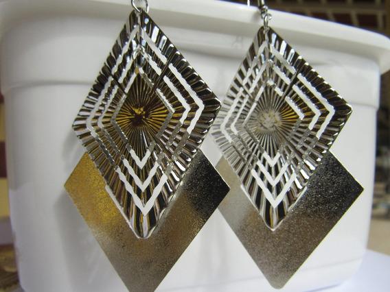 Brinco 9x5 Cm; Geométrica; Liga De Zinco