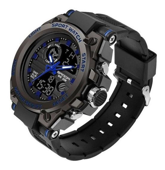 Relógio Masculino Esportivo Militar Digital Silicone Azul