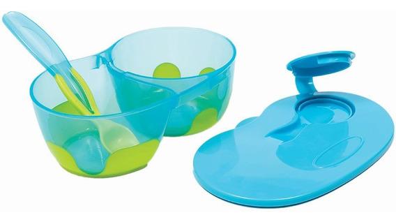Pratinho Cor Azul Com Divisoria Kit Refeicao Com Colher Tampa Pote Infantil Buba Baby Menino .