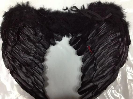 Alas De Angel Color Negro Cotillon Halloween Disfraz