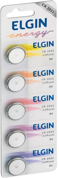 Bateria Moeda Cr2032 3v Lithium Elgin Com 5 Unidades