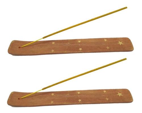 2 Incensários Porta Incenso Madeira Metal Canaleta