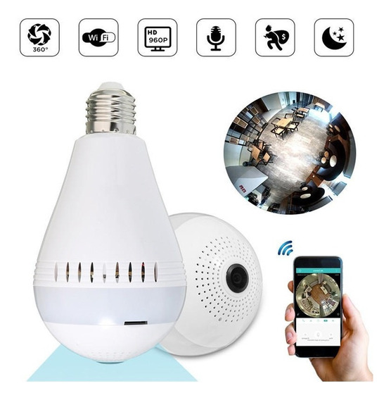 Lampara Wifi Led Camara Espía Hd Ojo De Pez 360° Ip. Graba.