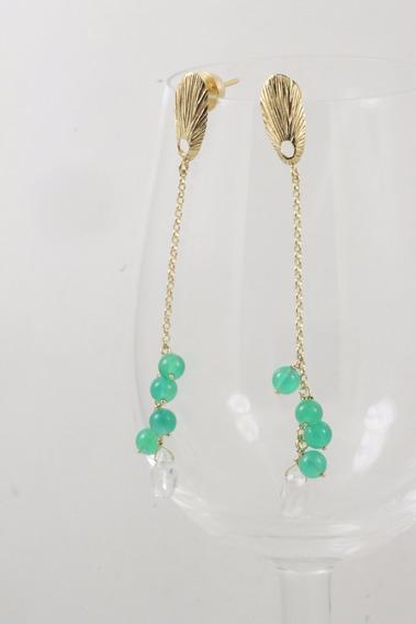 Brinco Ouro 18 K Bolinha Jade