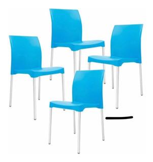 Sillas Plástico Para Café Restaurante Set De 8pzs