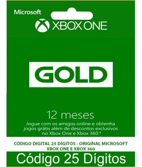 Live Gold 12 Meses Xbox One E 360 Codigo 25 Digitos Oficial