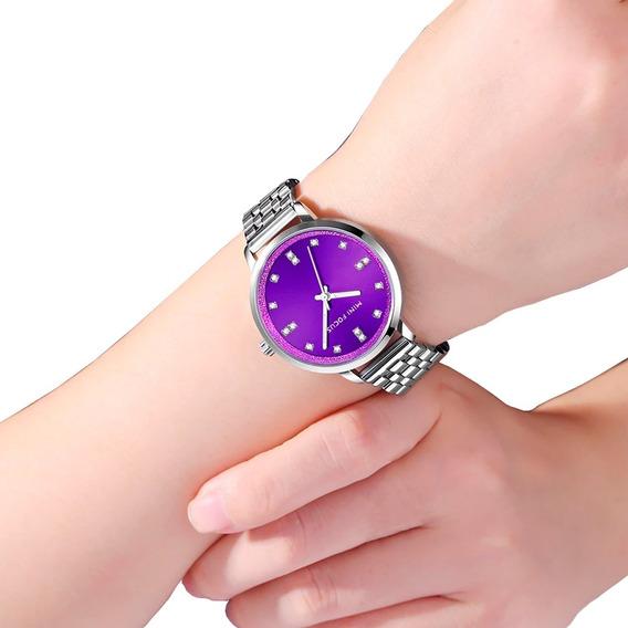 Relógio De Pulso Feminino Importado Moda Fashion Prata Roxo