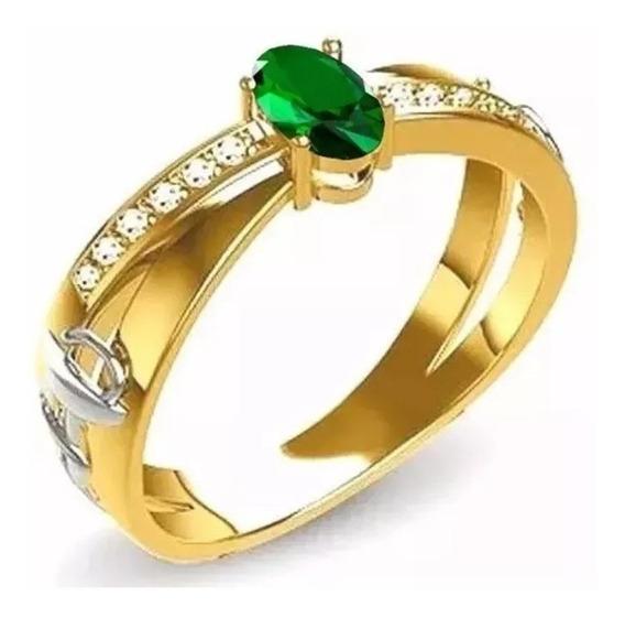 Anel De Formatura Feminino Ouro 18k Pedra Esmeralda Natural