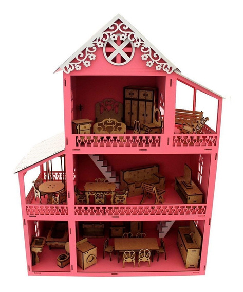 Casinha De Boneca Polly Mdf Pintada Casa C/ Kit 37 Móveis