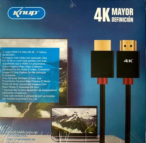 Cabo Hdmi 4k Knup Kp-h4k01 1.5m De 1,5 Metros