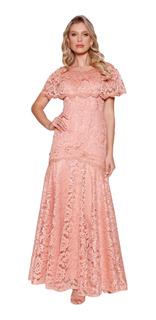 Vestido Longo Feminino Bordado Renda Fascinius Moda