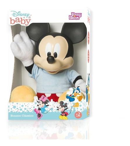 Boneco Mickey Corpo Pelúcia Cabeça Vinil 52cm Disney Baby