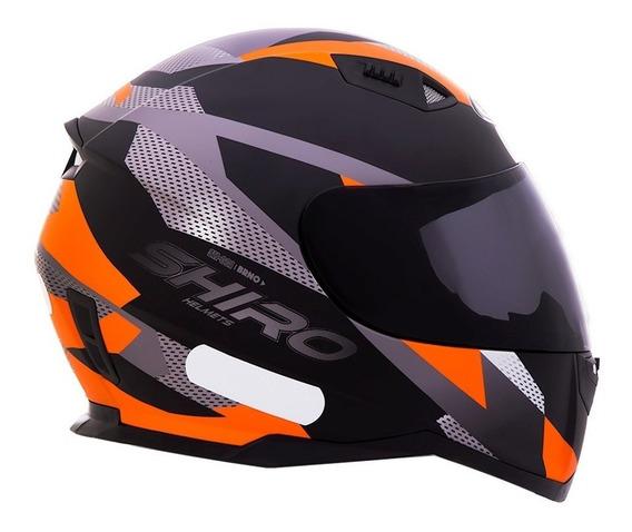 Capacete Shiro Sh-881-brno - Preto Fosco/laranja- Tamanho 61
