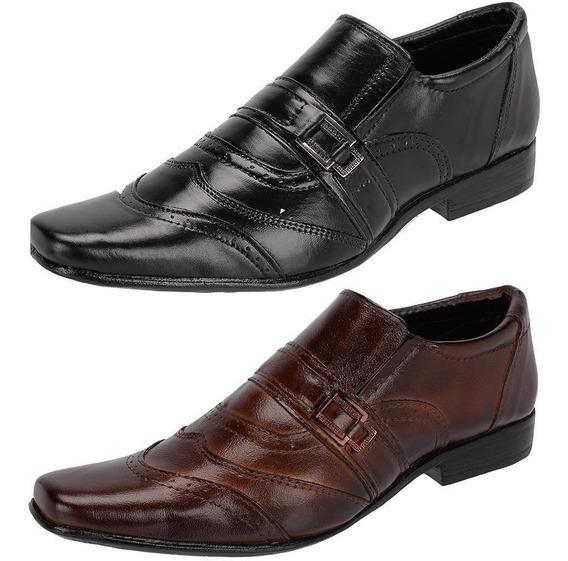 Sapato Social Masculino Couro Legítimo - Kit 2 Pares