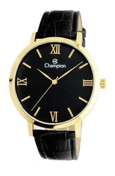 Relógio Feminino Dourado Com Pulseira De Couro Champion + Nf