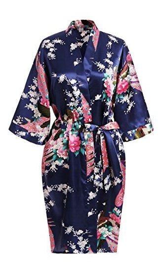 Usdisct Kimono Elegante Con Manga Corta Floreado Tipo Seda P