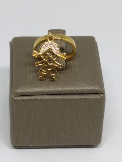 Anel Feminino Dourado Folheado Ouro 18 Berloques Menina C905