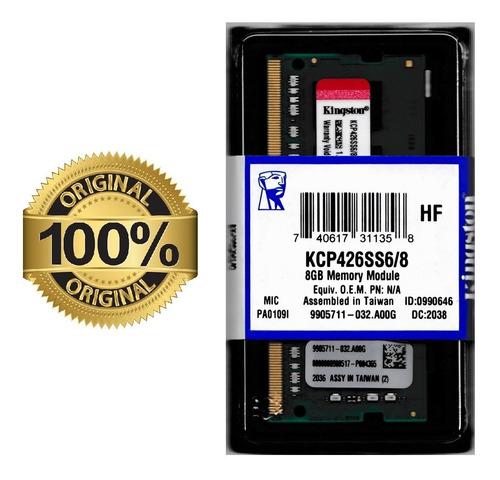 Imagem 1 de 2 de Kcp426ss6/8 Memória 8gb Ddr4 2666mhz Sodimm Dell Lenovo Hp
