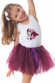 Conjunto Infantil Saia De Tutu E Blusa Elsa Frozen Ou Minnie