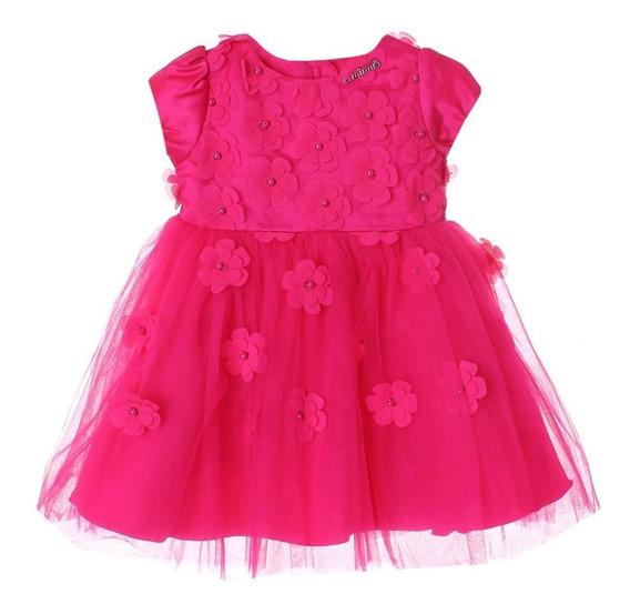 Vestido Infantil Flores Bordado