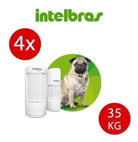 Kit 4 Sensores Infra C/ Fio Intelbras Ivp 5002 Pet 35kg Full