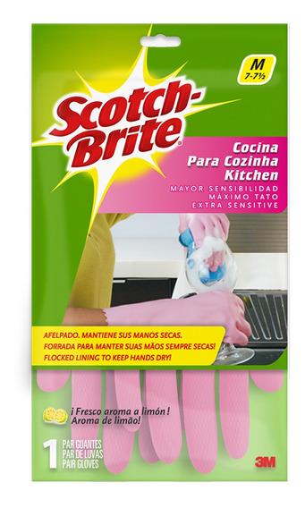 3m Scotch Brite Guantes Afelpados De Cocina Medianos Rosa