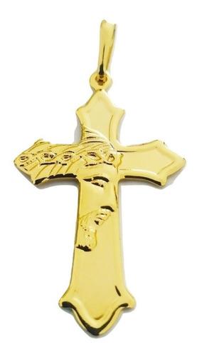 Pingente Rellicari Face De Cristo Crucifixo Banhado R008