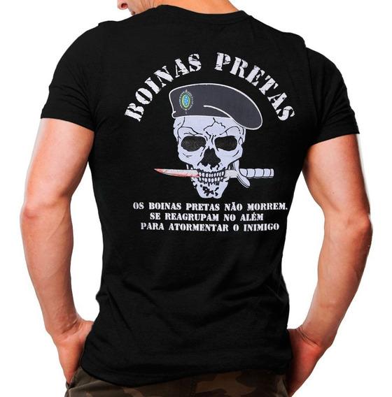 Kit 3 Camisetas Militar Boinas Pretas, Comandos, Operações