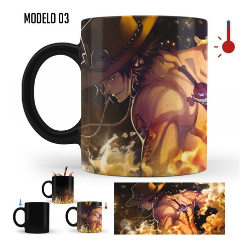 Imagen 1 de 1 de Taza Mágica One Piece Luffy, Zoro, Ace | Varios Modelos