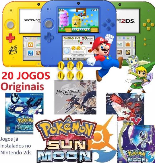 Nintendo 2ds + 20 Jogos Originais Pokémon Sun Mario Roda 3ds