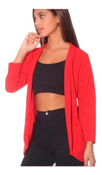 Blazer Saco Mujer De Vestir Largo Bolsillo Moda Fiesta