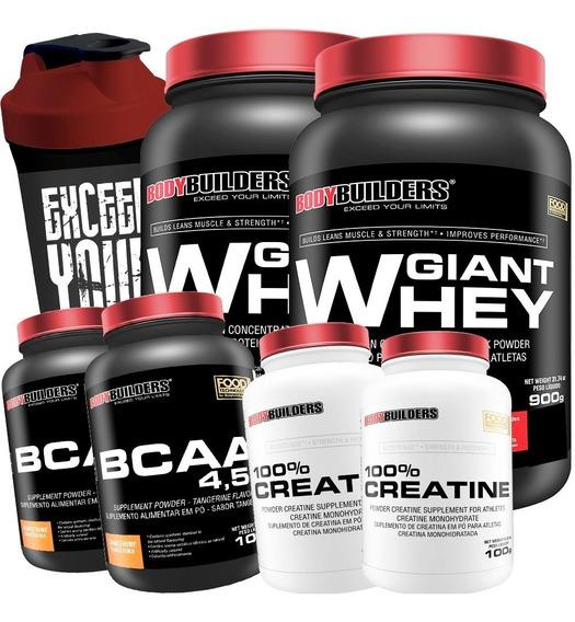 Combo Duplo Whey Protein + 2x Bcaa + 2x Creatina + Shaker Full