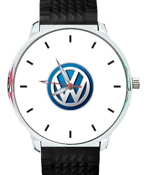 Relógio Pulso Personalizado Logo Vw Pulseira Silicone Preta