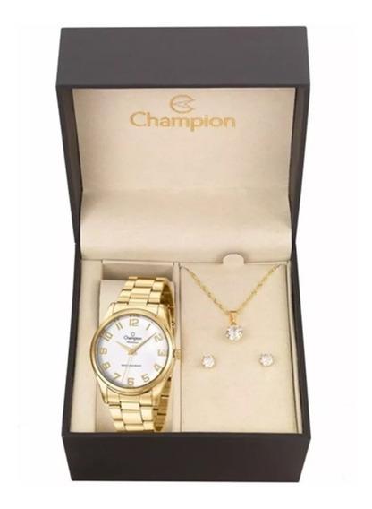 Relógio Feminino Champion Cn29883j + Colar + Brinco